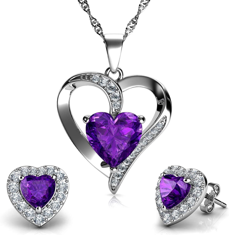 DEPHINI - Juego de collar y pendientes de corazón morados - Plata de ley 925 - Pendientes de cristal y piedra natalicia - Juego de joyería fina para mujer - Circonita cúbica