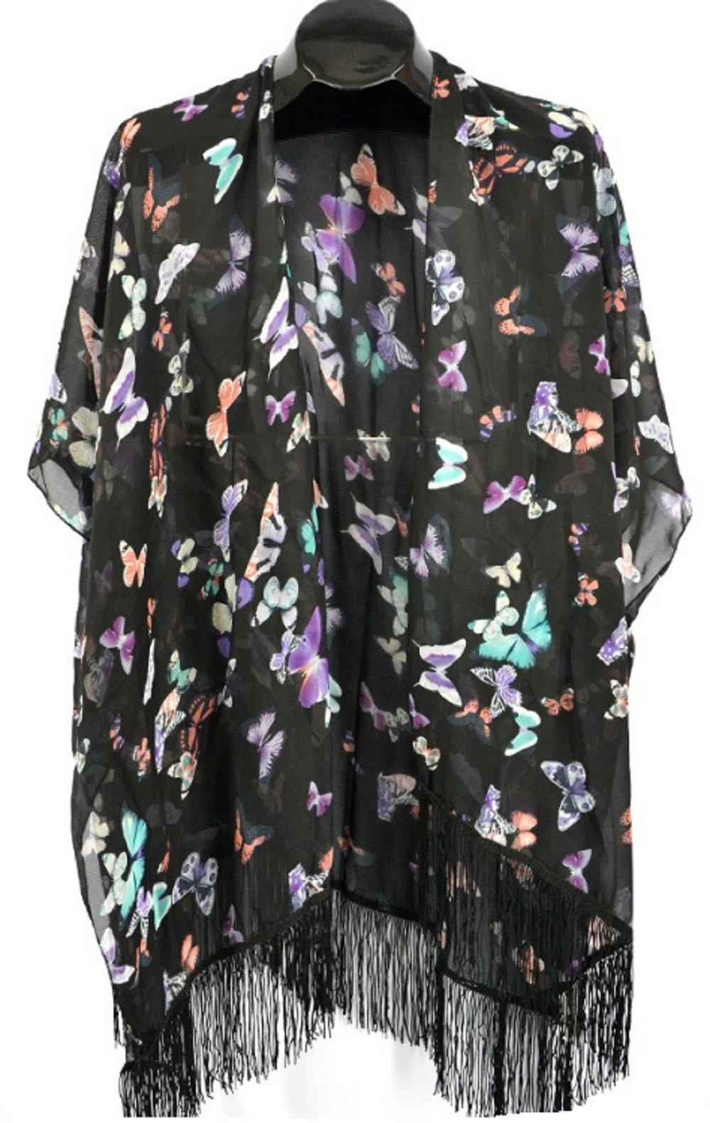 Womens Ladies Butterfly Poncho Coverup Shrug Fringed Hemline (Black)