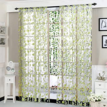 Upxiang Romantische Blume Schiere Fenstervorhang, Vorhang Tüll,  Fensterbearbeitung, Voile Tüll Vorhang Schlaufen Transparent