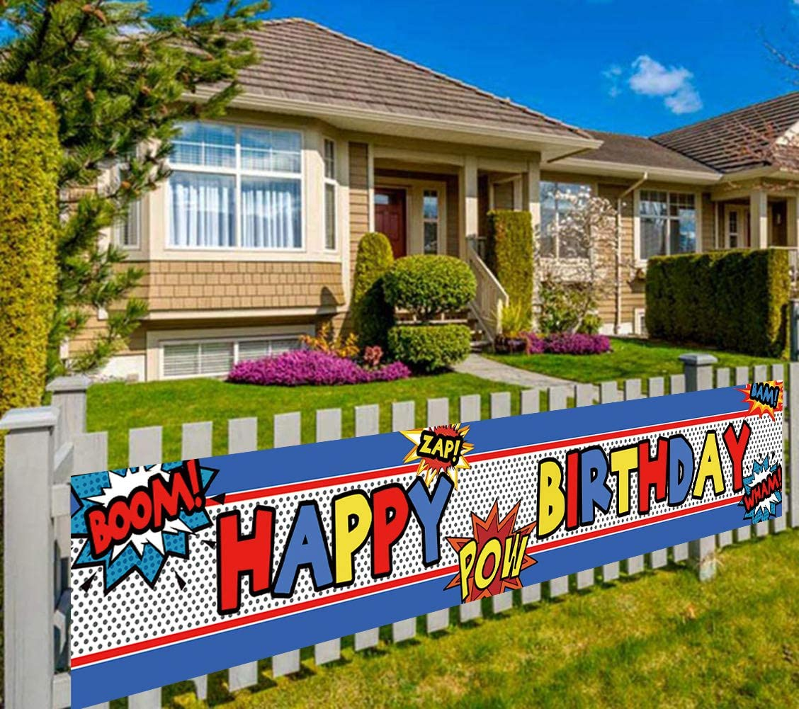 Colormoon Large Superhero Happy Birthday Banner, Superhero Themed Party Supplies Decorations (9.8 x 1.6 feet)