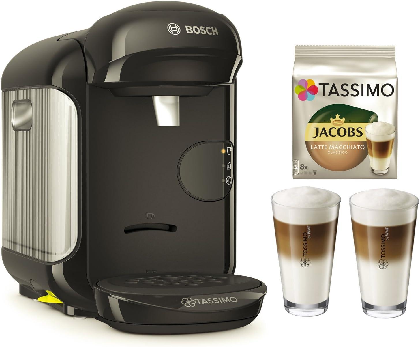 Cafetera Tassimo Vivy 2 de Bosch Bundle + vasos de latte macchiato + Tdisc Latte Macchiato Negro: Amazon.es: Hogar