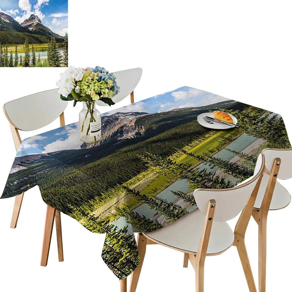 UHOO2018 Polyester Fabric Tablecloth Square/Rectangle Canadian Cliffs High Tops and Ranges in Spring Day Panorama Image ES Summer & Outdoor Picnics,50x 50inch