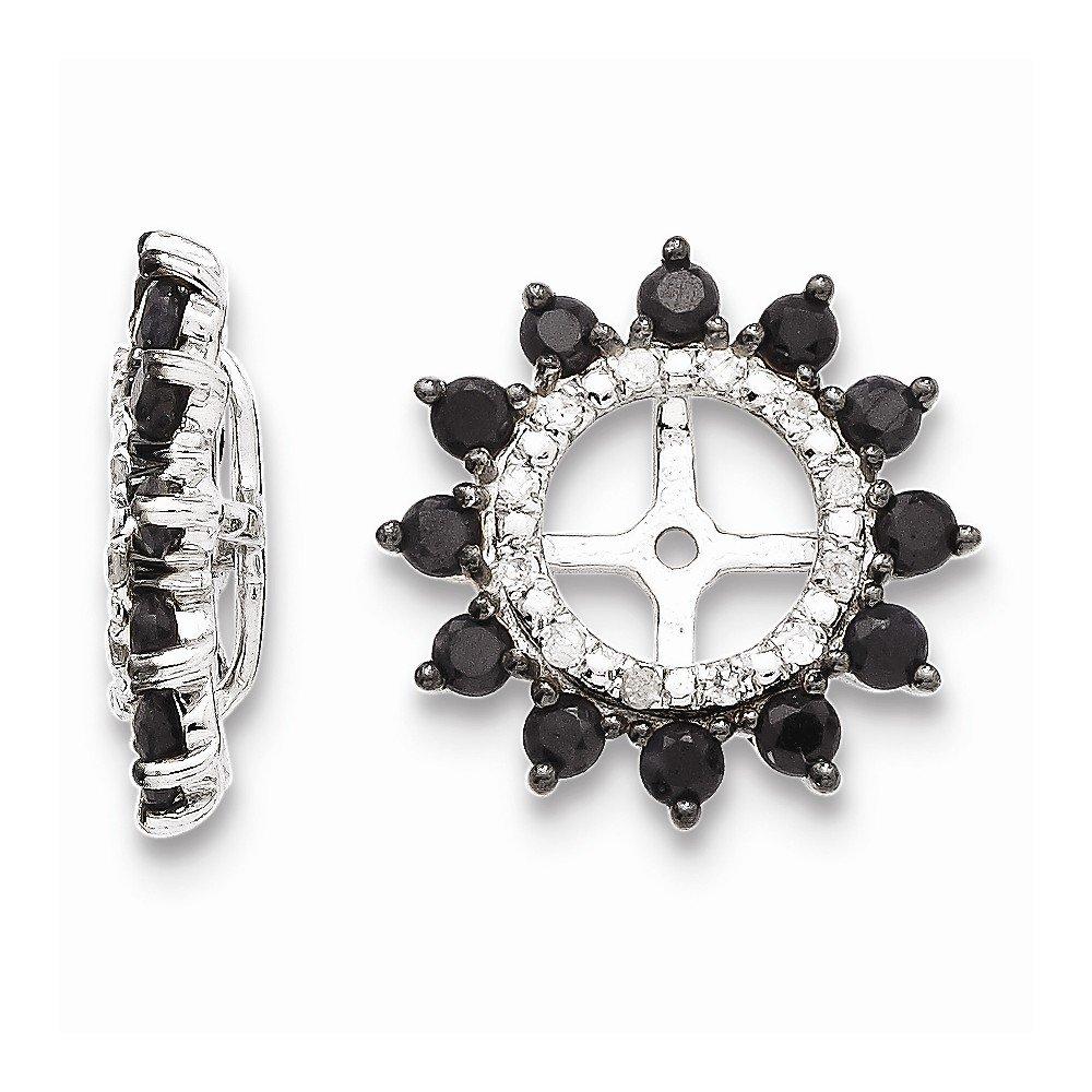 Sterling Silver Diamond /& Black Sapphire Earring Jacket