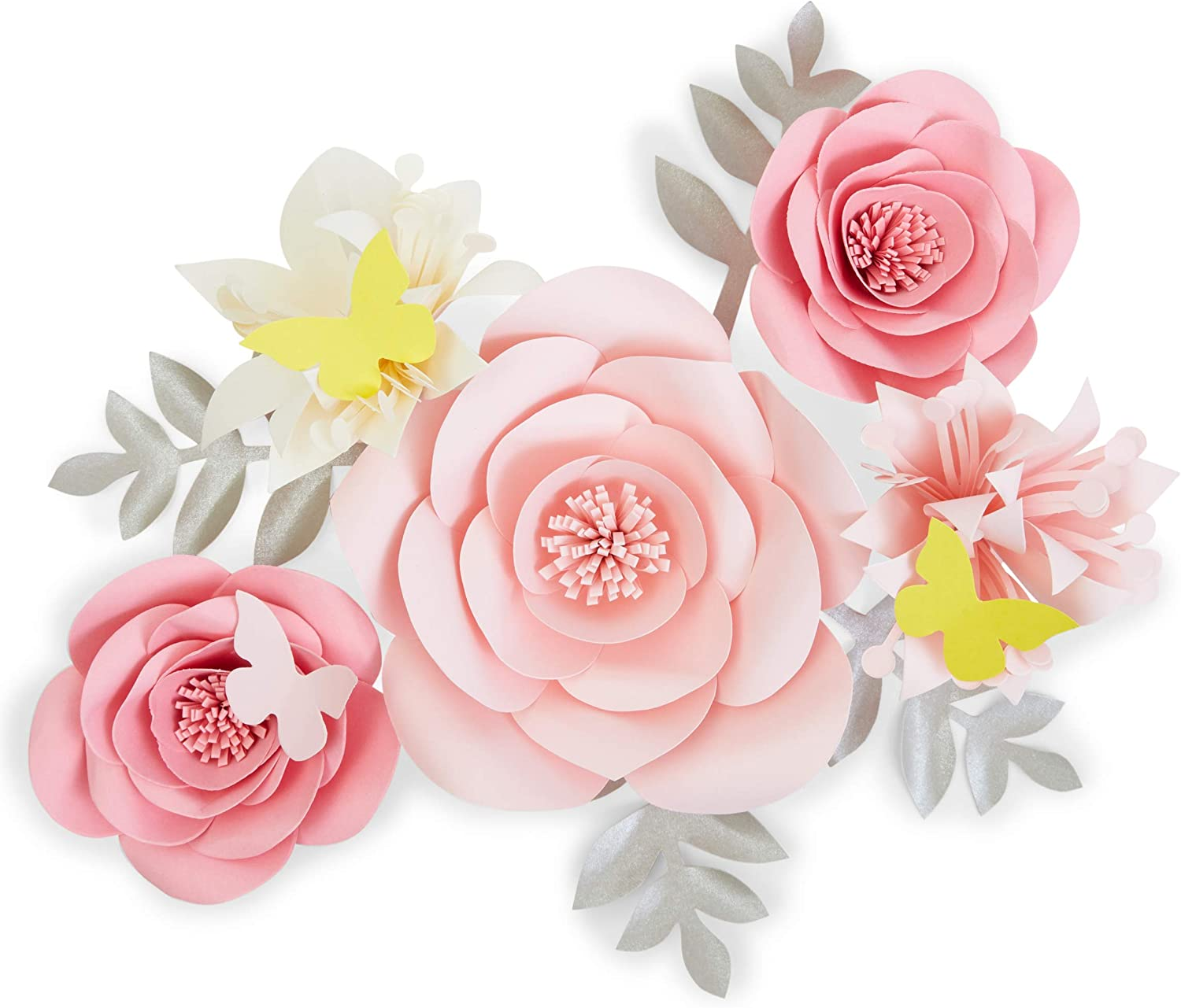 3D Paper Flowers, Pink Wall Decor (12 Pieces)