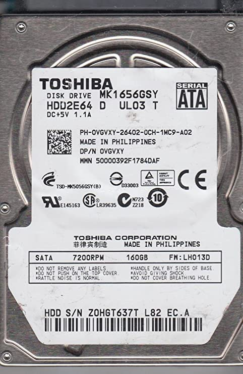 Toshiba 160GB 2.5 SATA 7200RPM MK1656GSY HDD2E64 HDD Laptop Hard Drive