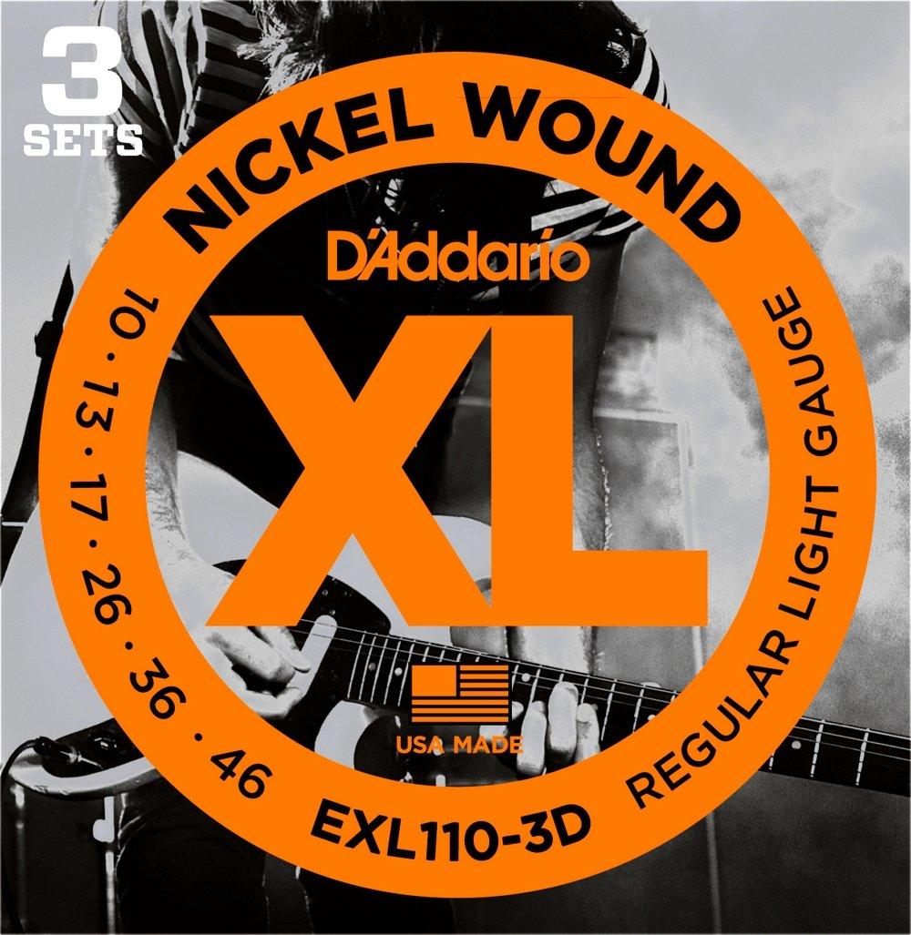 Jeux de cordes pour guitares /électriques Pack 3 JEU ELEC XL REG LIGHT 10-46 DAddario