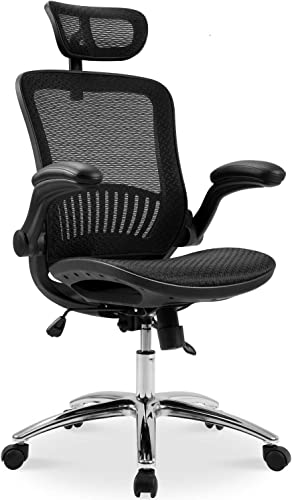 Ergonomic Mesh Home Desk Office Chair and Plating Base Headrest Height Adjustable Breathable Material Tilt Locking Mechanism, Black