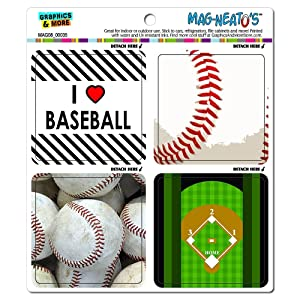 Graphics and More Baseball Player Fan Love Automotive Car Refrigerator Locker Vinyl Magnet Set