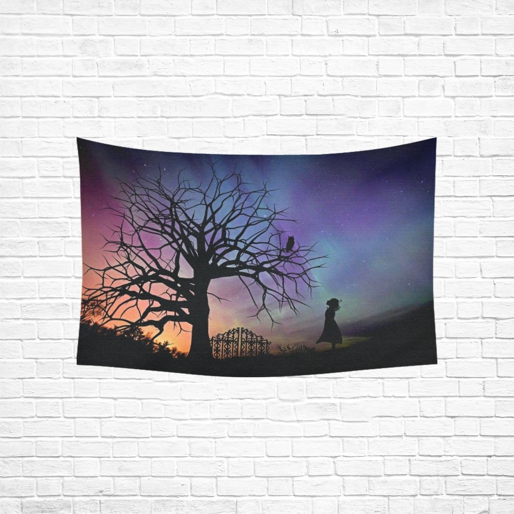 WUTMVING Tapestry Girl Starry Sky Evening Sky Fairy Tales Fantasy Hippie Tapestries Wall Hanging Flower Tapestry Wall Hanging Dorm Decor For Living Room Bedroom 60 X 40 Inch