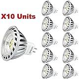 Xpeoo® Pack de 10 unités 6W LED MR16 GU5.3 lumière du jour Ampoule Equivalente à une Halogène de 50 W Spot Light Design Avant-gardiste Lampe Lamp lumière Bulb 520 lm Cool White Blanc froid Naturel Neutre 4500-5000k Éclairage DC AC 12V