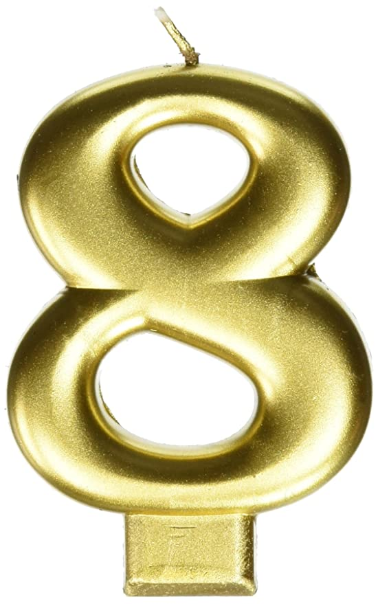 amscan Birthday Celebration, Numeral #8 Metallic Candle, Party Supplies, Gold, 3 1/4
