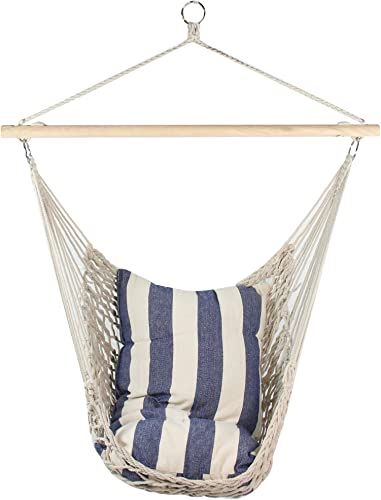 Northlight 32816653 39 x 43 Netting Hammock Chair with Striped Cushion and Wooden Bar, White