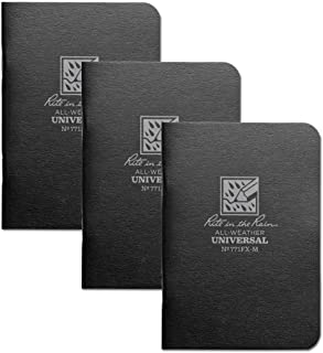 """product image for Rite in the Rain Weatherproof Mini-Stapled Notebook, 3 1/4"""" x 4 5/8"""", Black Cover, Universal Pattern, 3 Pack (No. 771FX-M)"""