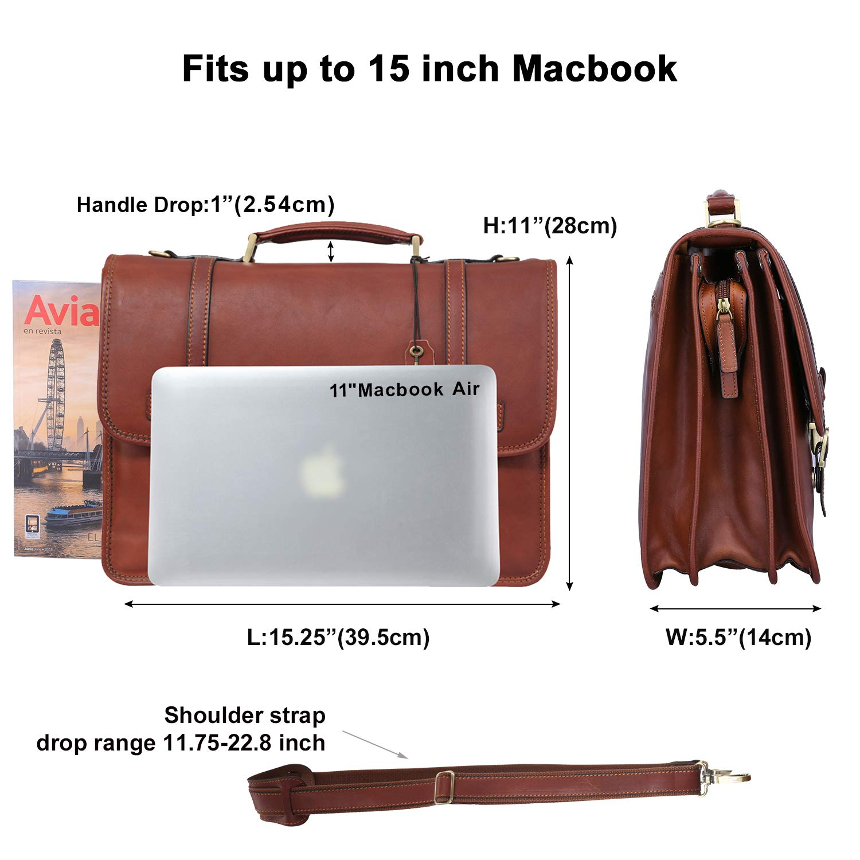 Banuce Vintage Full Grain Italian Leather Briefcase for Men Business Lock Lawyer Attache Case 14 Tote Laptop Messenger Bag 01608108003
