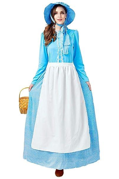 Amazon.com: SAMCOS Pioneer vestido colonial de época vintage ...