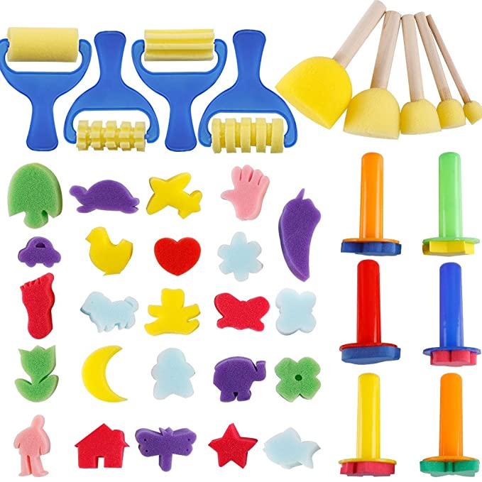 YGDZ Early Learning Mini Flower Sponge Painting Brushes Craft Brushes Set for Kids Shipping by FBA