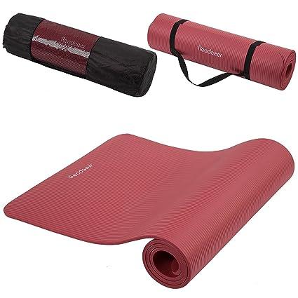 Readaeer - Colchoneta de Yoga Esterilla, Gruesa y Suave, Medidas:183 x 61 x 1 cm con bolsa y correa, rojo, Mejor elige para Yogini/Yogistar