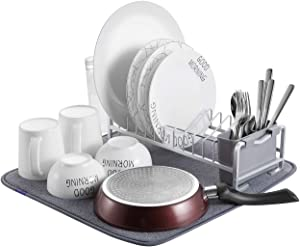 Aluminum Compact Dish Drying Rack,Simple Kitchen Dishes Drying Rack With Microfiber Mat for Kitchen Counter-Drain and Dry Wine Glasses,Bowls and Dishes