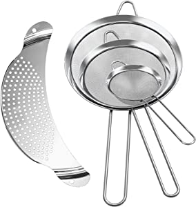 Foonii Stainless Steel Fine Mesh Strainers (4 Set), 3 Wire Strainers (3.15'', 5.55'', 7.08'') and 1 Kitchen Food Strainer, Colander Sifters for Baking, Drain and Rinse, Coffee, Vegetables, Fruit
