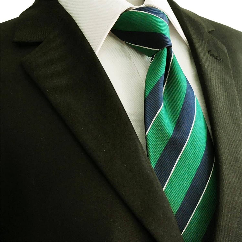 shlax&wing Stripes Corbatas para hombre Corbata de seda verde azul Formal S1UVgG82E
