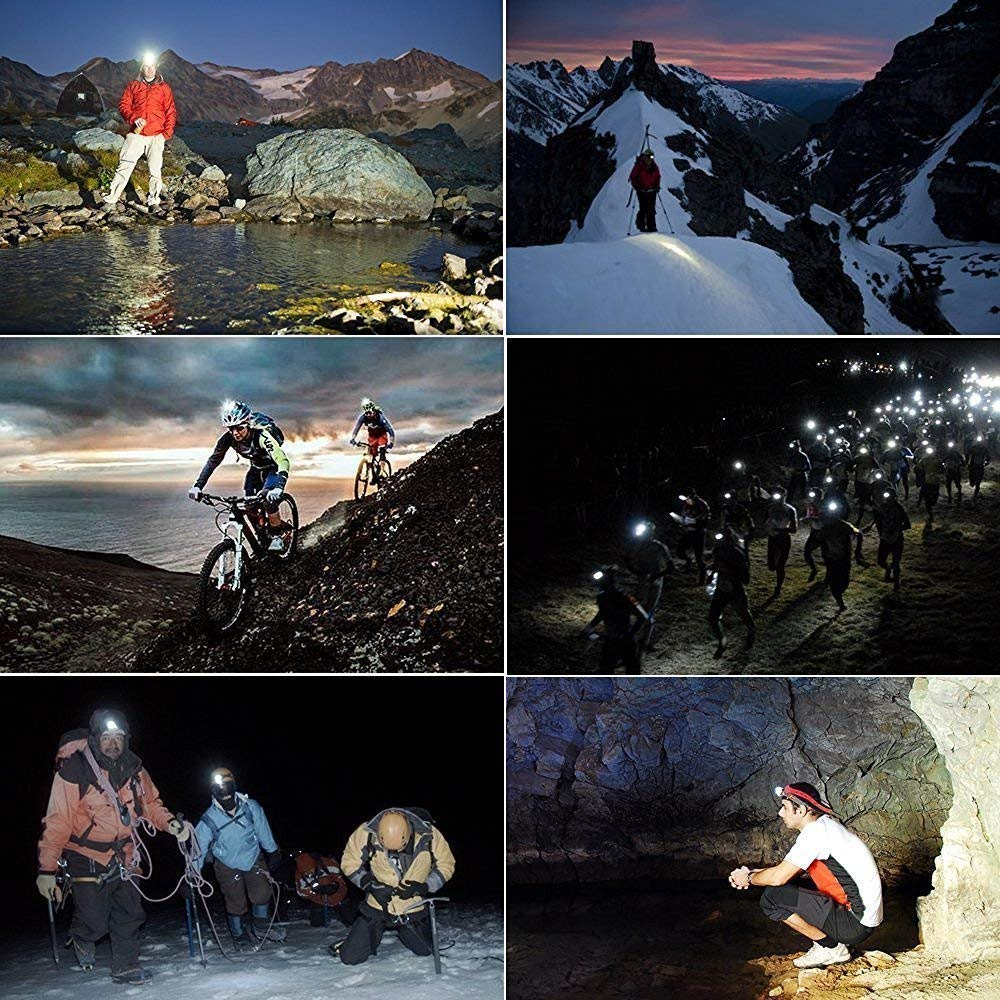 Ideapro LED Headlamp, 4 Lighting Modes Headlight, Battery Powered Headlamp Flashlight Brightest and Lightweight, Waterproof with Adjustable Headband and Flashing SOS Light for Camping Running 2 Pack by Ideapro (Image #7)