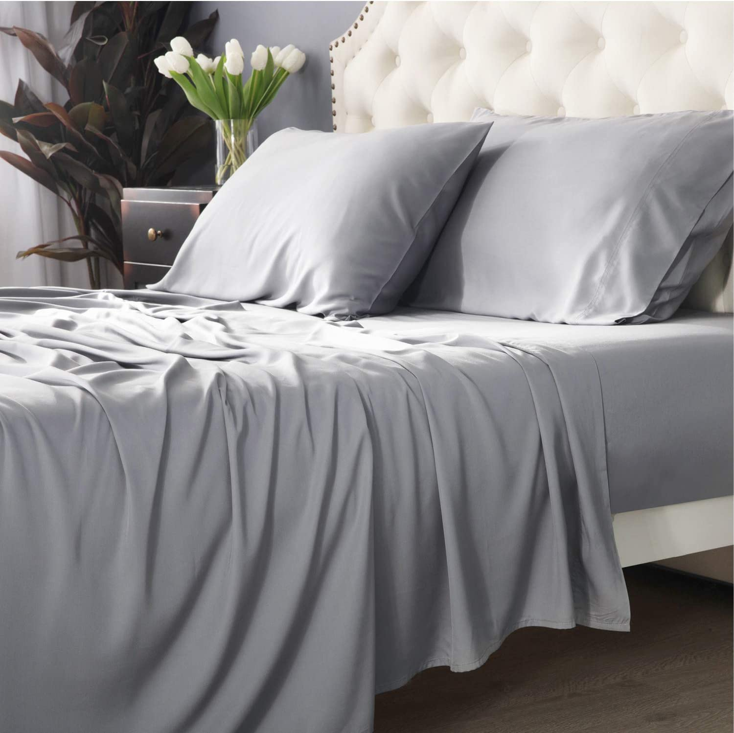 Bedsure 100% Bamboo Sheets King Size Cooling Sheets Deep Pocket Bed Sheets-Super Soft Breathable - 4 Pieces 1 Fitted Sheet with 16 Inches, 1 Flat Sheet, 2 Pillowcases-Light Grey