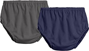 City Threads 2-Pack Baby Girls' and Baby Boys' Unisex Diaper Covers Bloomers Soft Cotton, Charcoal/Navy, Newborn