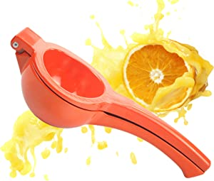 Large Handheld Orange Juicer Manual Fresh Juice Squeezer Extractor Heavy Duty Metal Citrus Fruit Hand Held Press Presser Reamer No Seed Pulp Drink Easy to Clean Home Kitchen Restaurant Bar Commercial