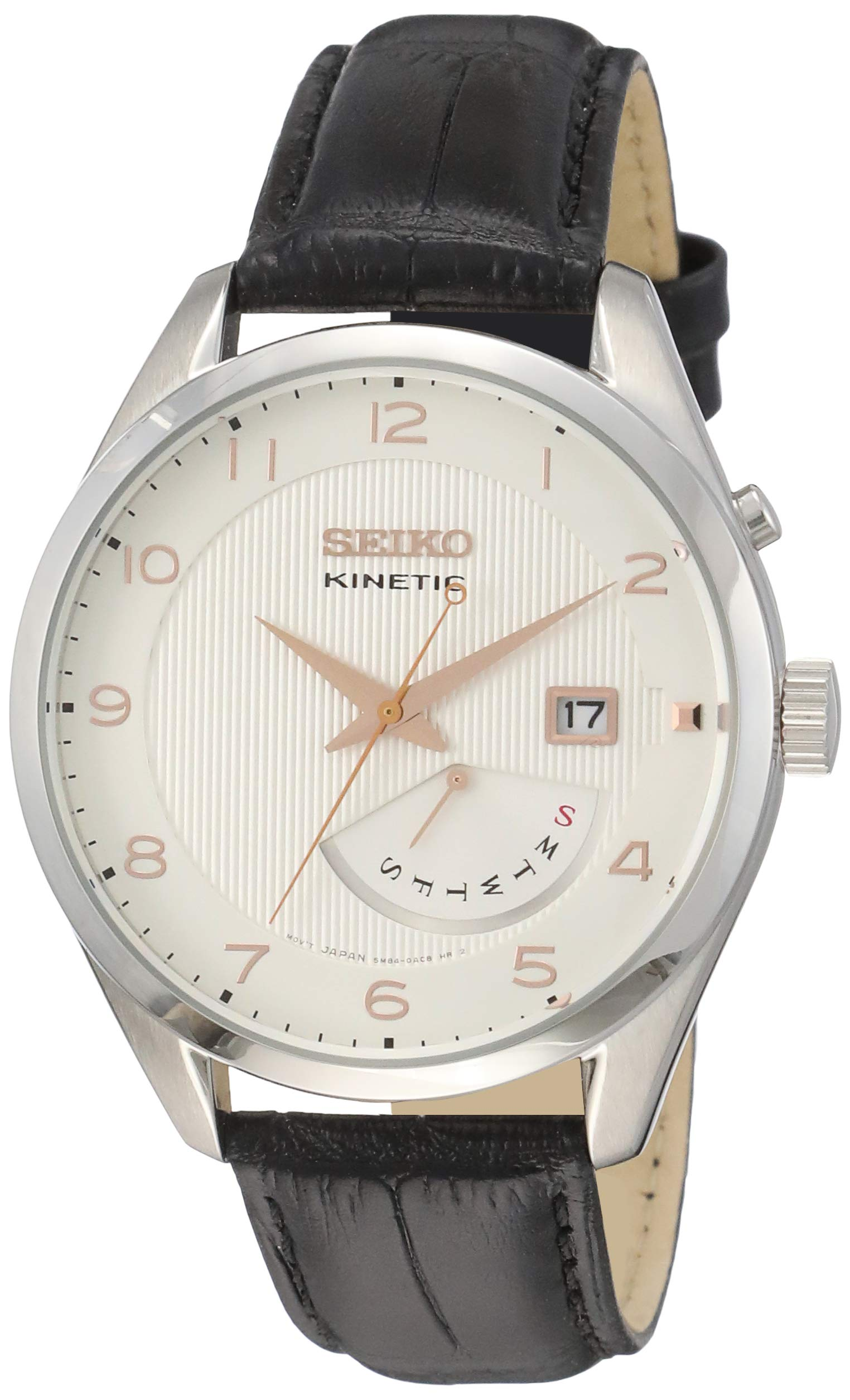 Men's SRN049-P1 Kinetic Black Leather Watch