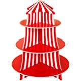 3 Tier Cupcake Foam Stand with Circus Carnival Tent Design for Desserts Birthdays Decorations