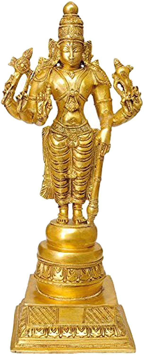 Idol Collections Eight Armed Lord Vishnu Brass Statue Golden Anonymous Artist VZM515