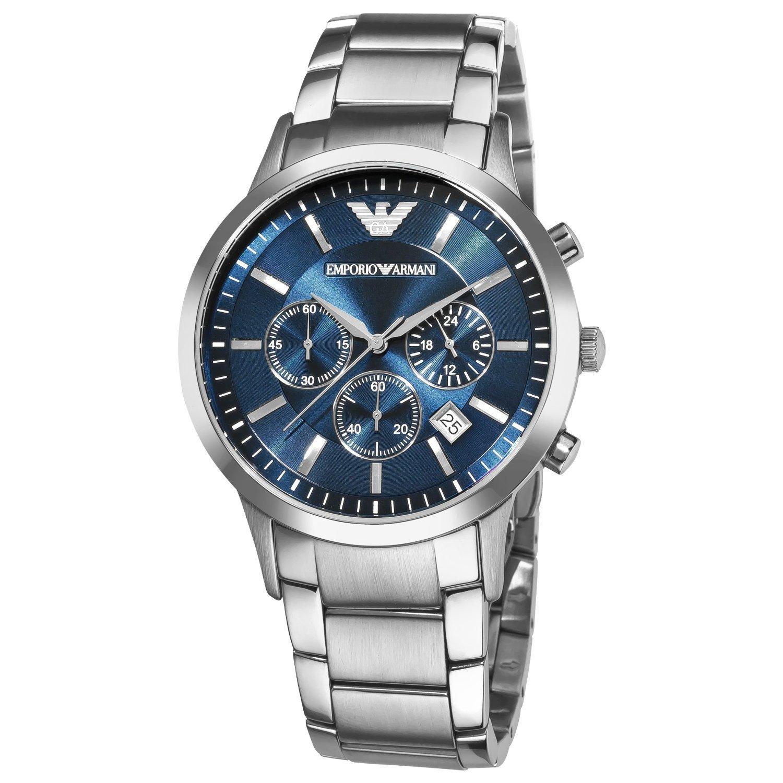 Herren EMPORIO ARMANI AR2448 Quarz blau Zifferblatt Edelstahl Armbanduhr