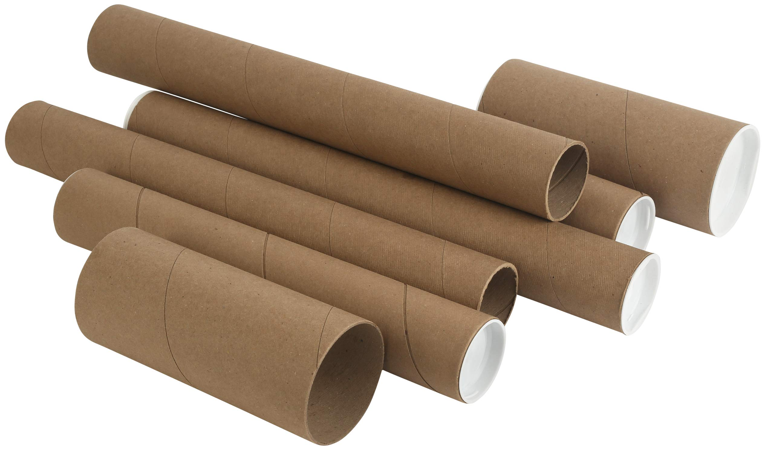 Kraft Mailing/Shipping Tubes with White End Caps by MT Products (3 inches Wide x 6 inches Length) (6 Pieces) by MT Products