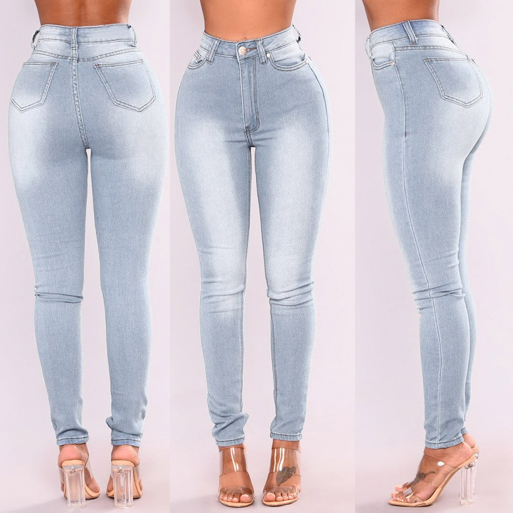 Women Skinny Denim Jeans Pants High Waist Stretch Slim Pencil Trousers