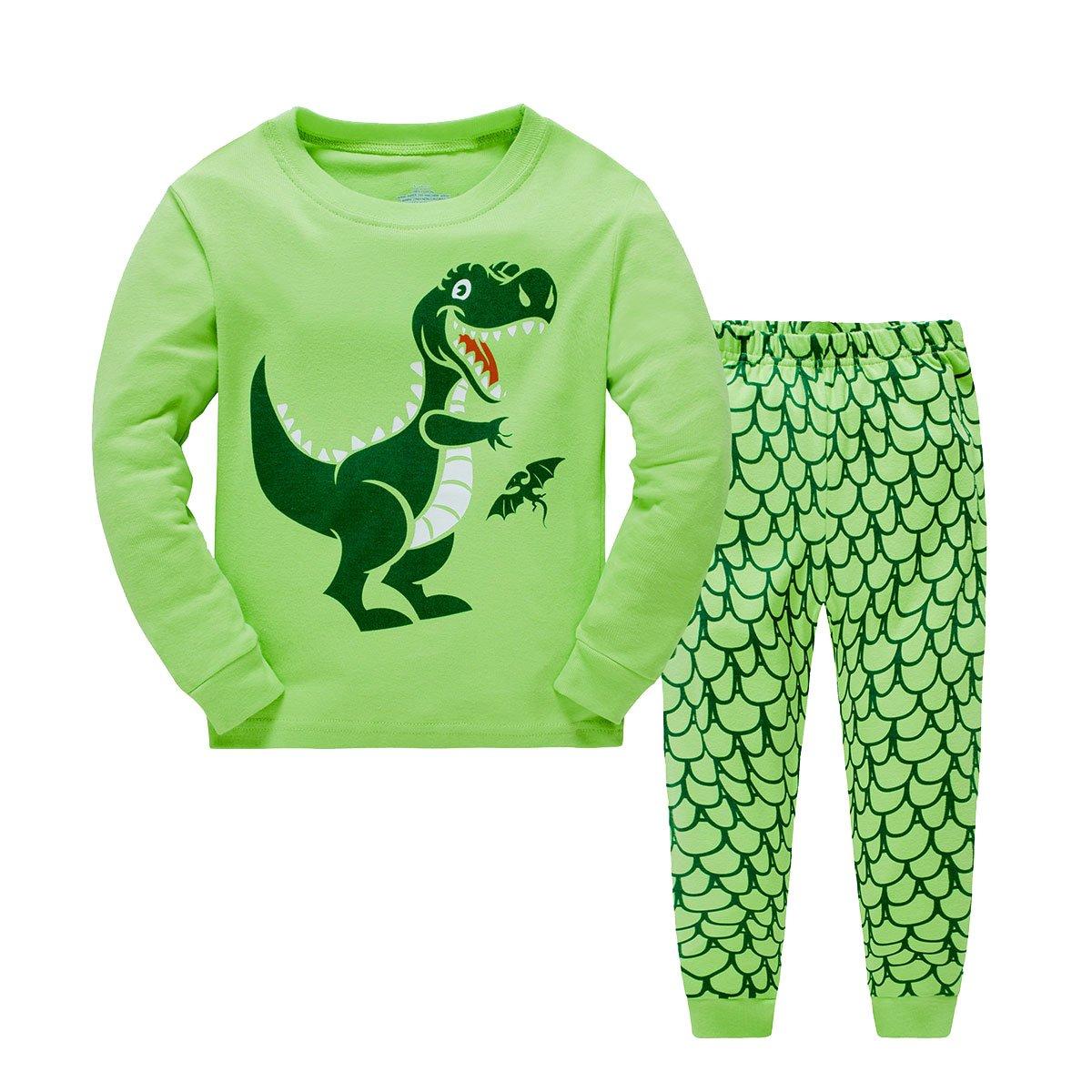 Pijamas largo los niños dos piezas de dinosaurios para de algodón 100% Tamaño 2-7 años: Amazon.es: Ropa y accesorios