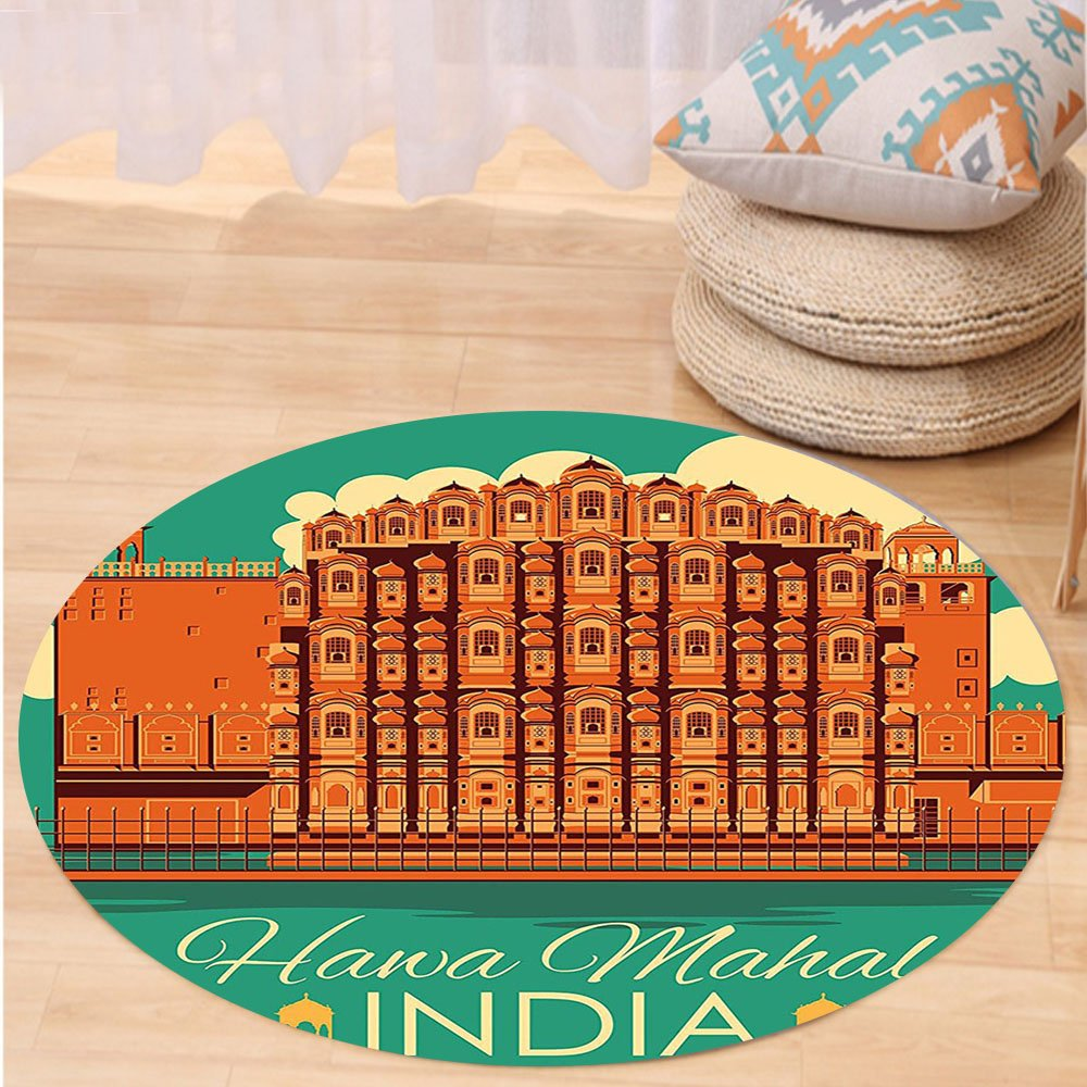 VROSELV Custom carpetIndian Decor Vintage Poster of Famous Monument Hawa Mahal in India Illustration for Bedroom Living Room Dorm Orange and Jade Green Round 79 inches