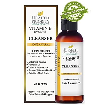 Limpiador facial con vitamina E 100% natural. El mejor limpiador facial para piel seca