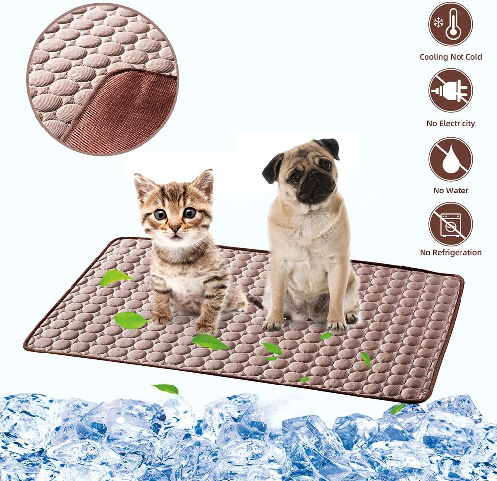LHRXTY Dog Cooling Mat Pet Self Cooling Sleep Pad Washable Ice Silk Cool Down Blanket Keep Pets Cool