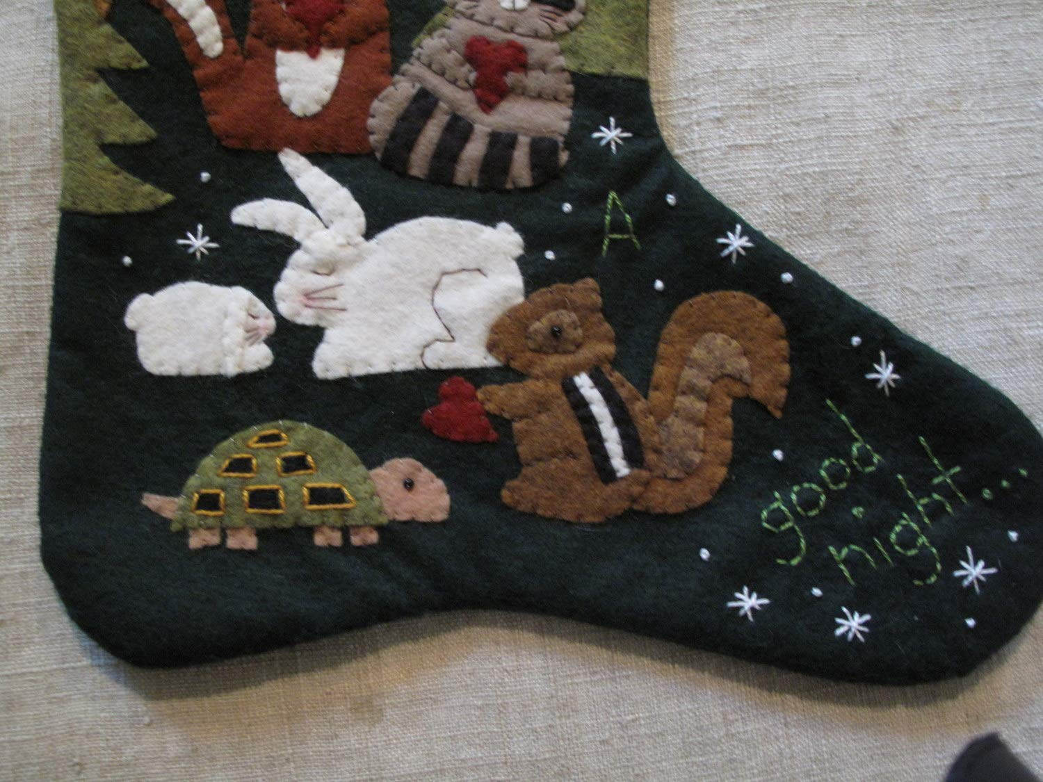 To All A Good Night by Cheswick Company Christmas Christmas Stocking KIT Wool Felt Applique