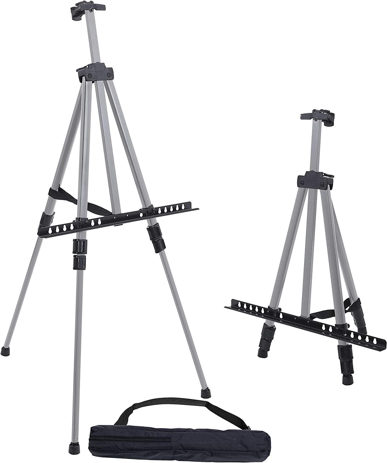"U.S. Art Supply 66"" Sturdy Silver Aluminum Tripod Artist Field and Display Easel Stand - Adjustable Height 20"" to 5.5 Feet, Holds 32"" Canvas - Floor and Tabletop Displaying, Painting - Portable Bag"