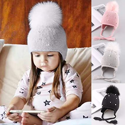 fe95bb9cd6b5 Nosii Cute Kid Babies Beanies Caps Child Knit Crochet Winter Warm Knitted  Hats Baby Boy Girls Beading Hair Ball Hat (Color   Pink)  Amazon.co.uk   Kitchen   ...