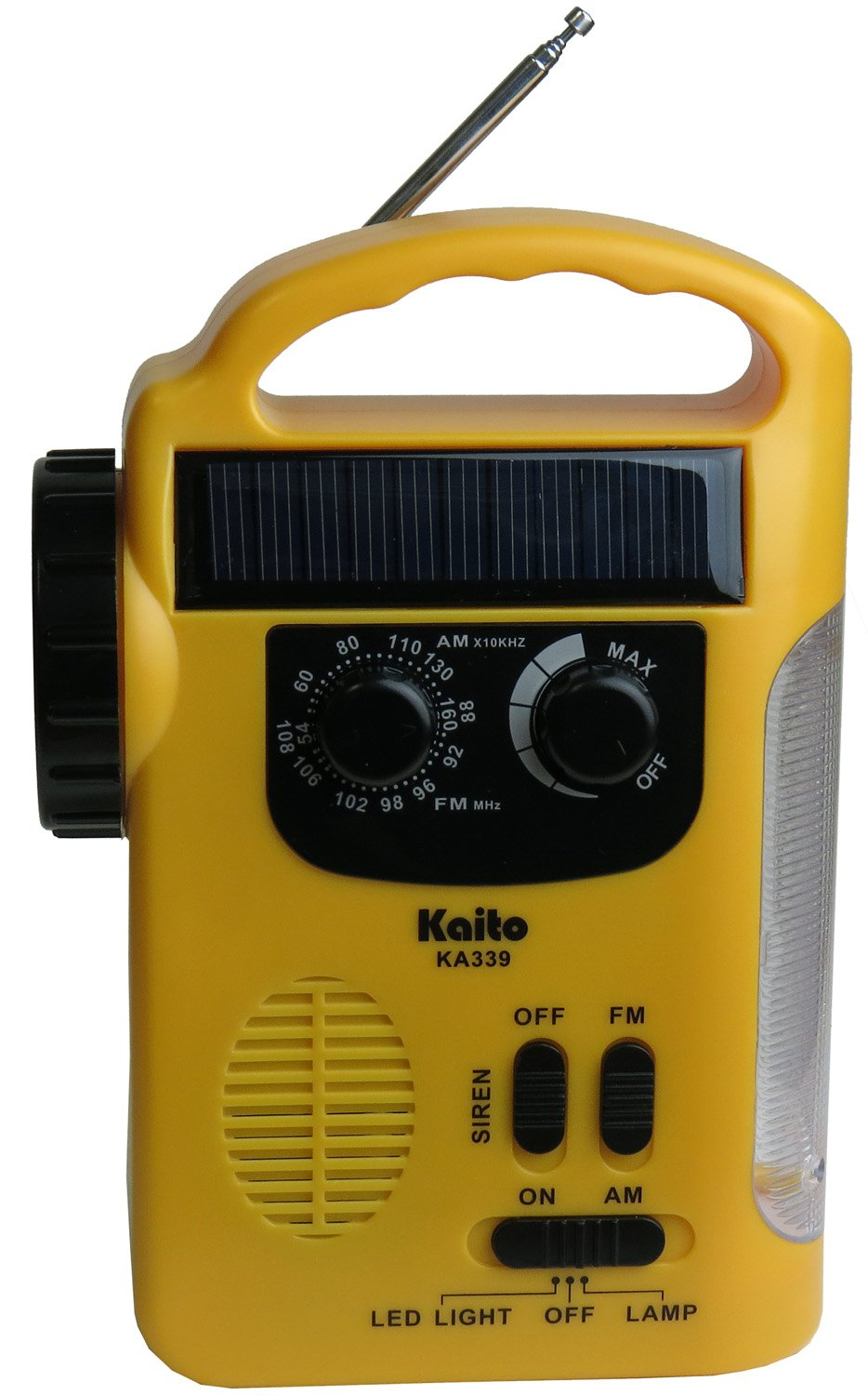 Kaito KA339 Dynamo Solar Powered AM/FM Radio With Solar Panel and Charge out Feature (Yellow)