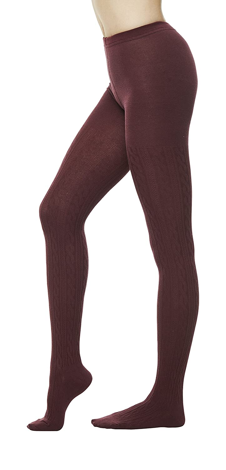 Womens Winter Cotton Cable Knit Sweater Footed Tights Sm Brown