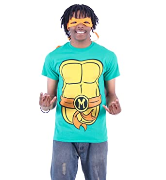 ba071ae8 TMNT Teenage Mutant Ninja Turtles Michelangelo Costume Green T-shirt with  Orange Eye Mask (
