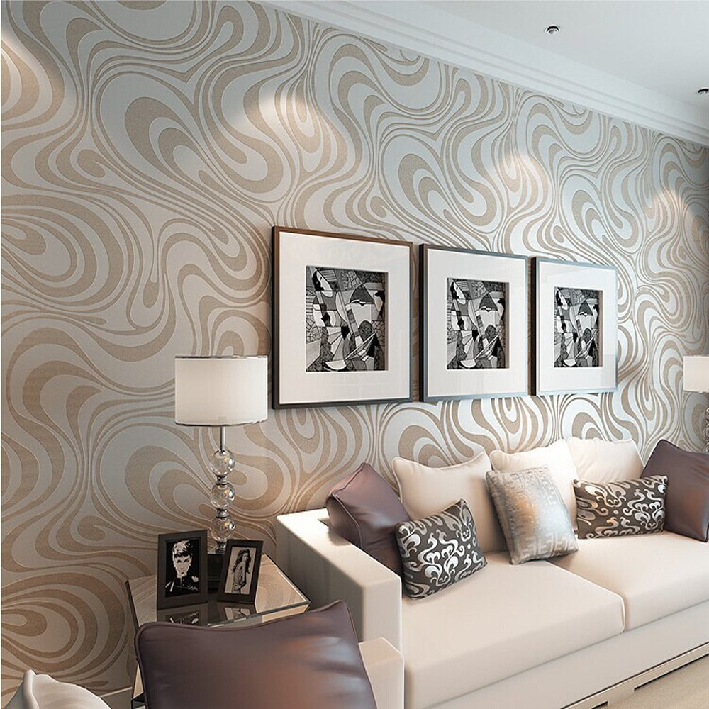 10M Modern Luxury Abstract Curve 3d Wallpaper Roll Mural Paper Parede Flocking for Striped Cream&white Color 0.7m*8.4m=5.88SQM