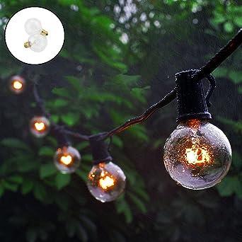 ELINKUME® 25 G40 Globe Bombilla Luz Cadena, 25 pies/7,65 metros Interior Exterior Agua Densidad String luces para patio, Café bares, Jardín Hinterhof gazebos Dormitorio Pergola Decoración: Amazon.es: Iluminación