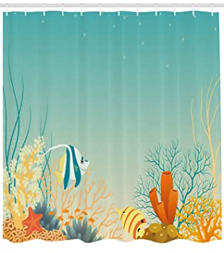 Ambesonne Aquarium Shower Curtain Tropical Oceanic Landscape In Warm Colors Cartoon Style Coral Colony