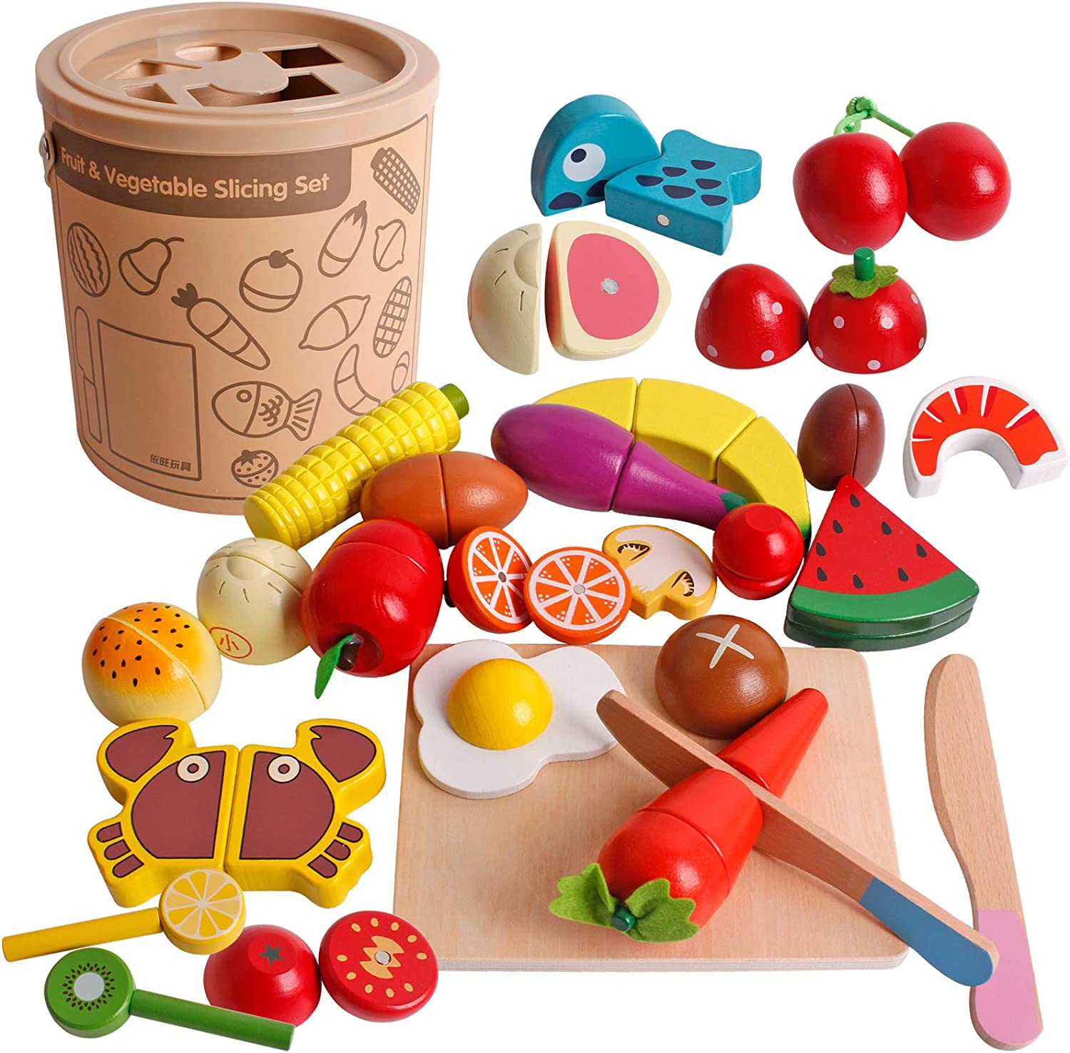 Play Wooden Food Cooking Toy, Cutting Fruit Vegetables Pretend Play Kitchen Set Magnetic Wood Fruit Early Educational Development, Learning Gift for 3, 4, 5, 6 Year Old Kids Toddlers Boys & Girls