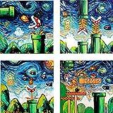 Retro Gamer Art 4 CANVAS prints van Gogh Never Became Invincible art starry night Aja 8x8, 10x10, 12x12, 16x16, 20x20, 24x24, 30x30 inches