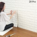 "3D White Brick Wallpaper, YTAT 3D Self Adhesive Wall Stickers, Brick Wall Paper for Living Room Bedroom Kitchen Bathroom, 23.6""x23.6""(60x60cm)(20, white)"